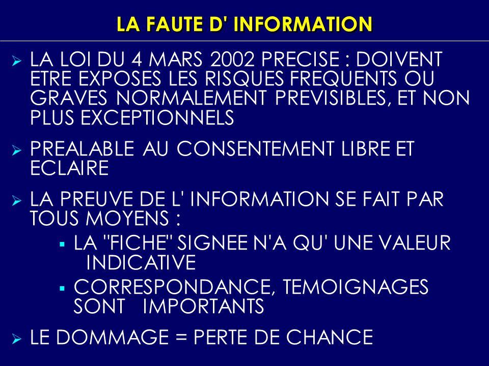 LA FAUTE D INFORMATION