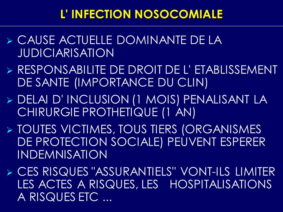 L INFECTION NOSOCOMIALE
