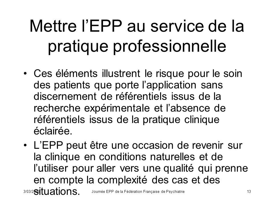 Mettre l'EPP au service de la pratique professionnelle