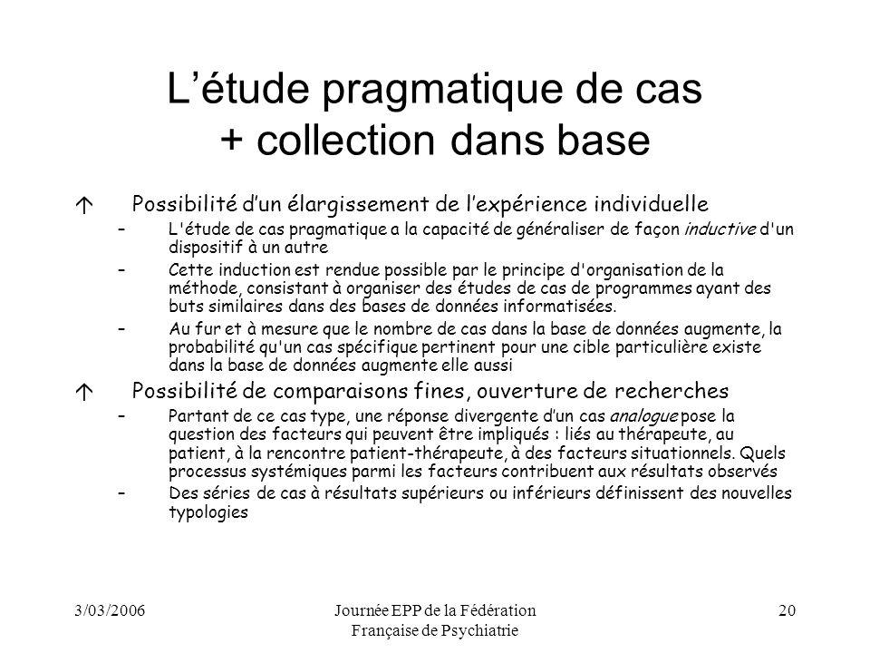 L'étude pragmatique de cas + collection dans base