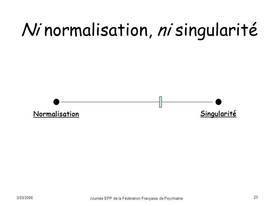 Ni normalisation, ni singularité