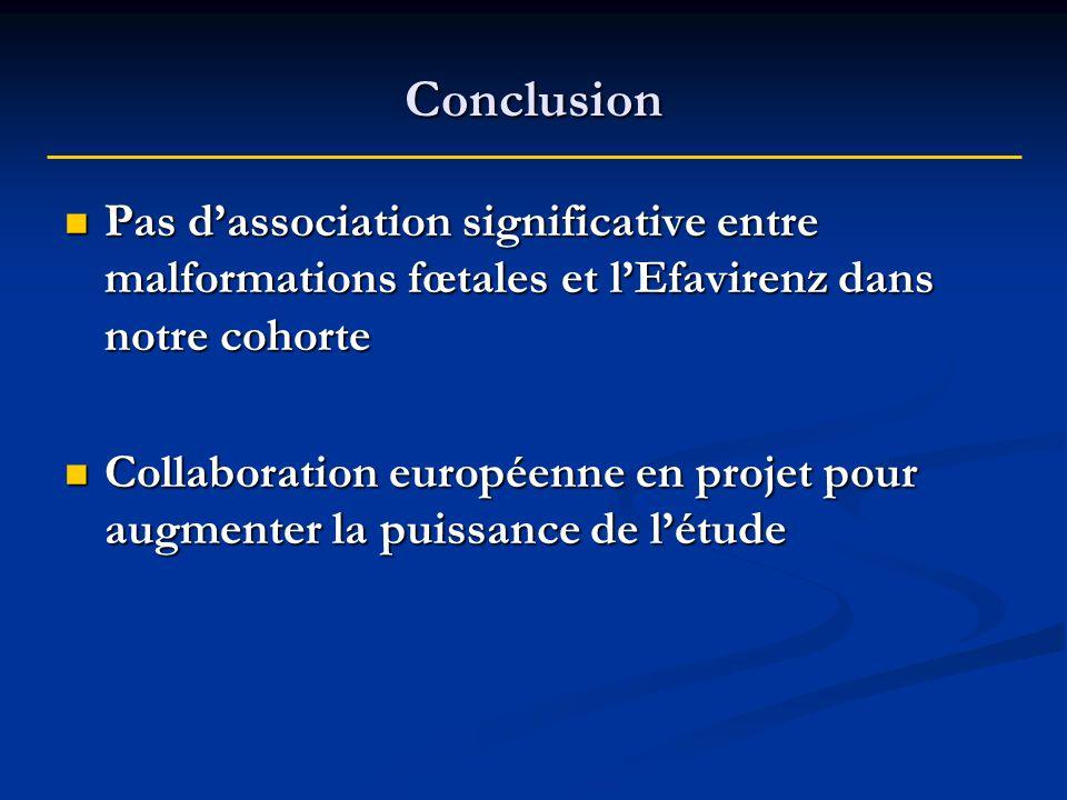 Conclusion Pas d'association significative entre malformations fœtales et l'Efavirenz dans notre cohorte.