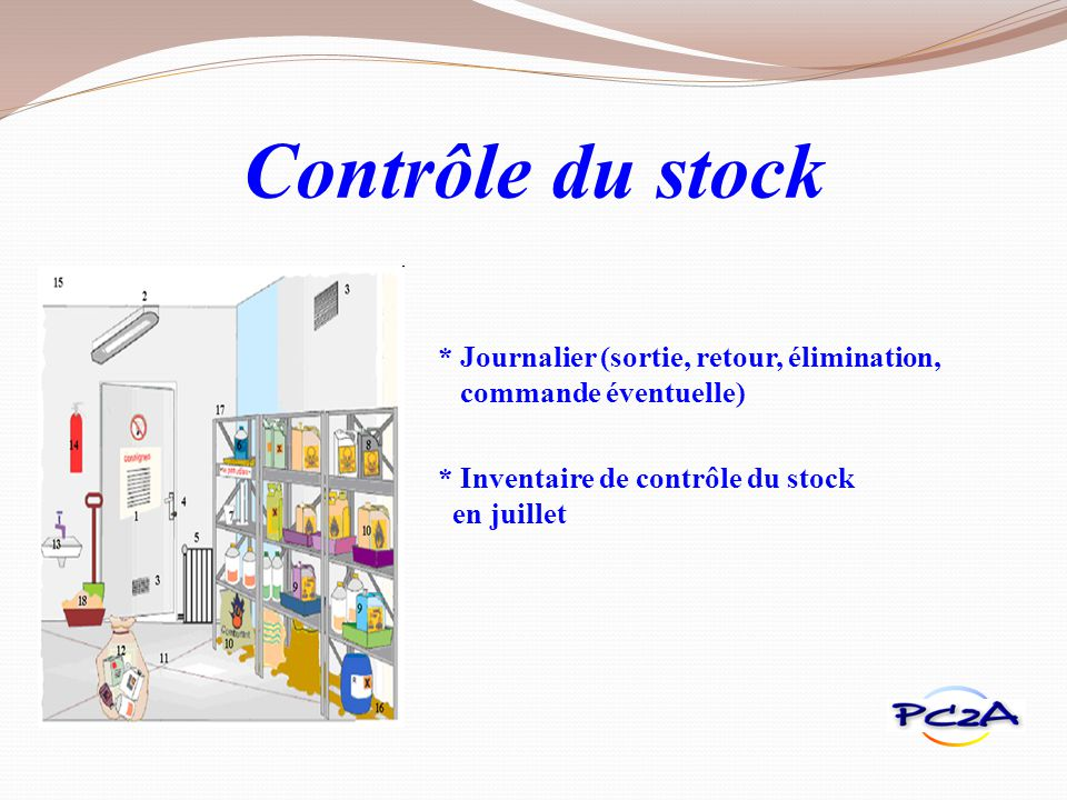 Contrôle du stock * Journalier (sortie, retour, élimination, commande éventuelle) * Inventaire de contrôle du stock en juillet.
