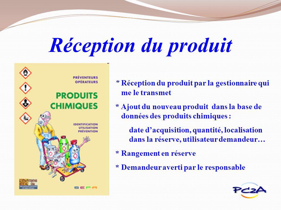 Réception du produit * Réception du produit par la gestionnaire qui me le transmet.