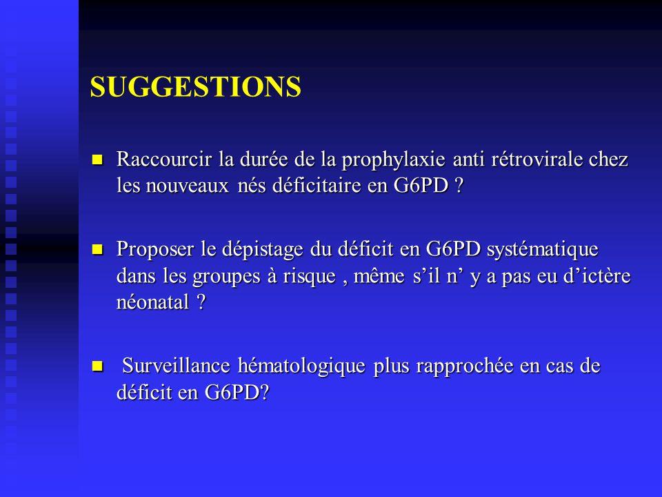 SUGGESTIONS Raccourcir la durée de la prophylaxie anti rétrovirale chez les nouveaux nés déficitaire en G6PD
