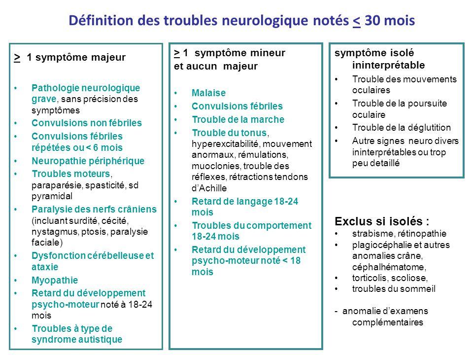 Définition des troubles neurologique notés < 30 mois