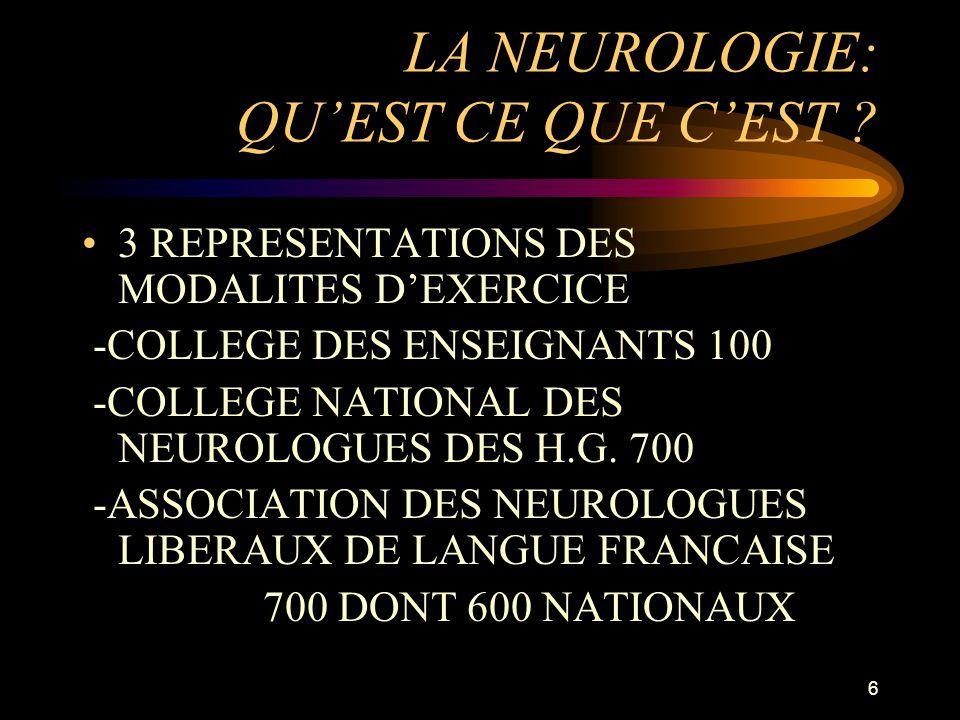LA NEUROLOGIE: QU'EST CE QUE C'EST