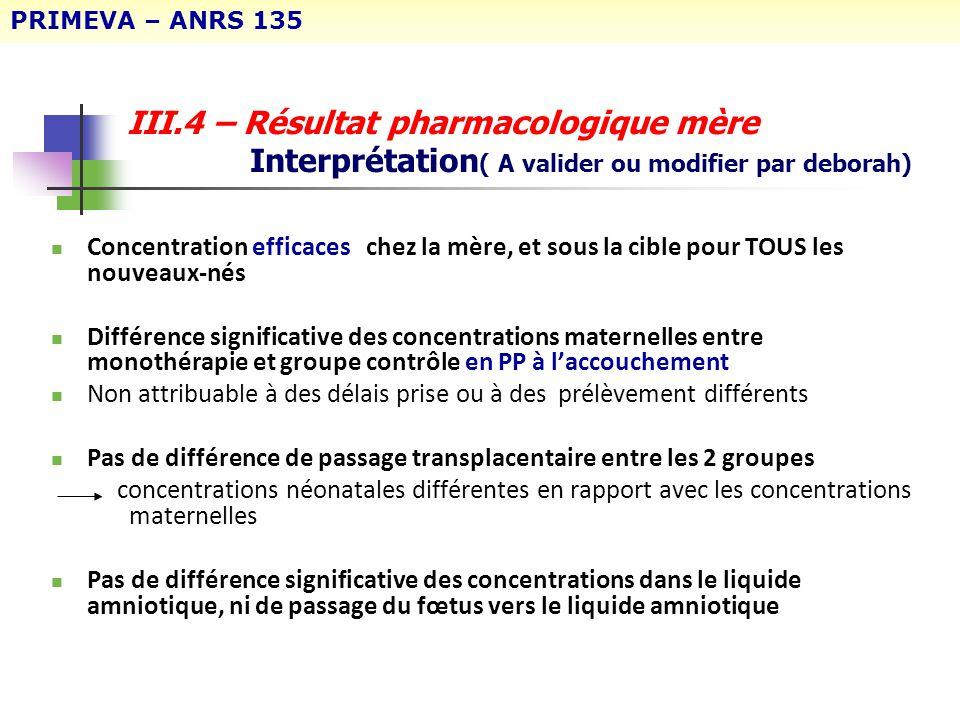 PRIMEVA – ANRS 135 III.4 – Résultat pharmacologique mère Interprétation( A valider ou modifier par deborah)