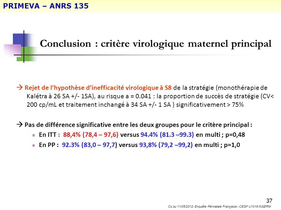 Conclusion : critère virologique maternel principal