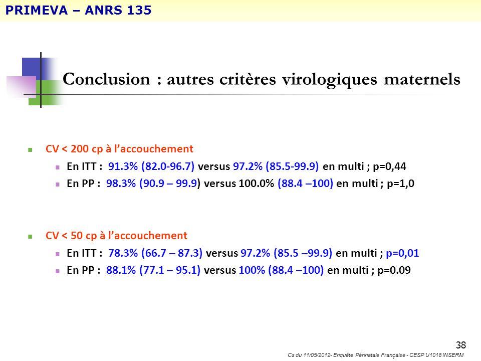 Conclusion : autres critères virologiques maternels