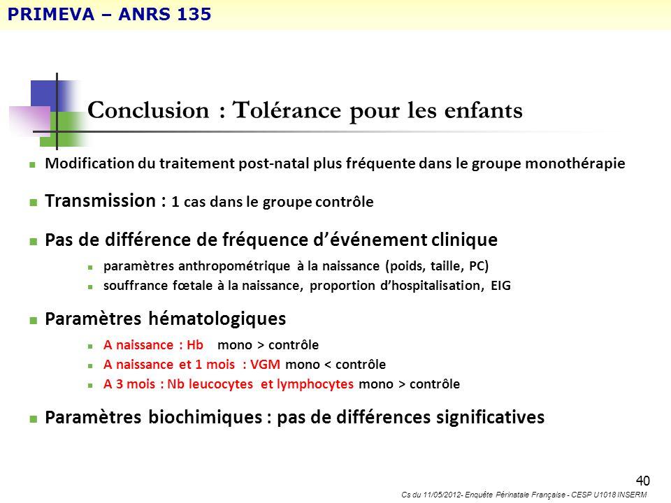 Conclusion : Tolérance pour les enfants