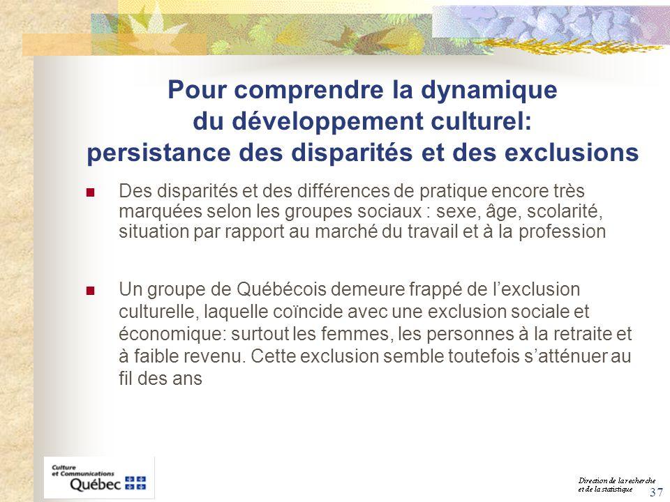 Pour comprendre la dynamique du développement culturel: persistance des disparités et des exclusions