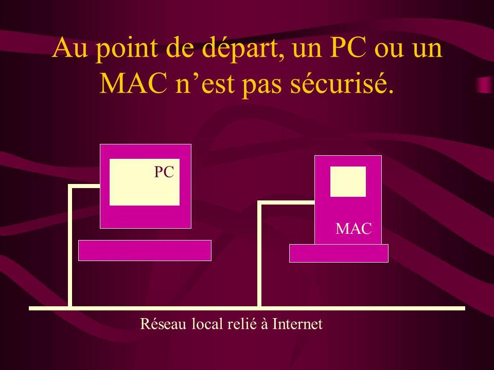 Au point de départ, un PC ou un MAC n'est pas sécurisé.