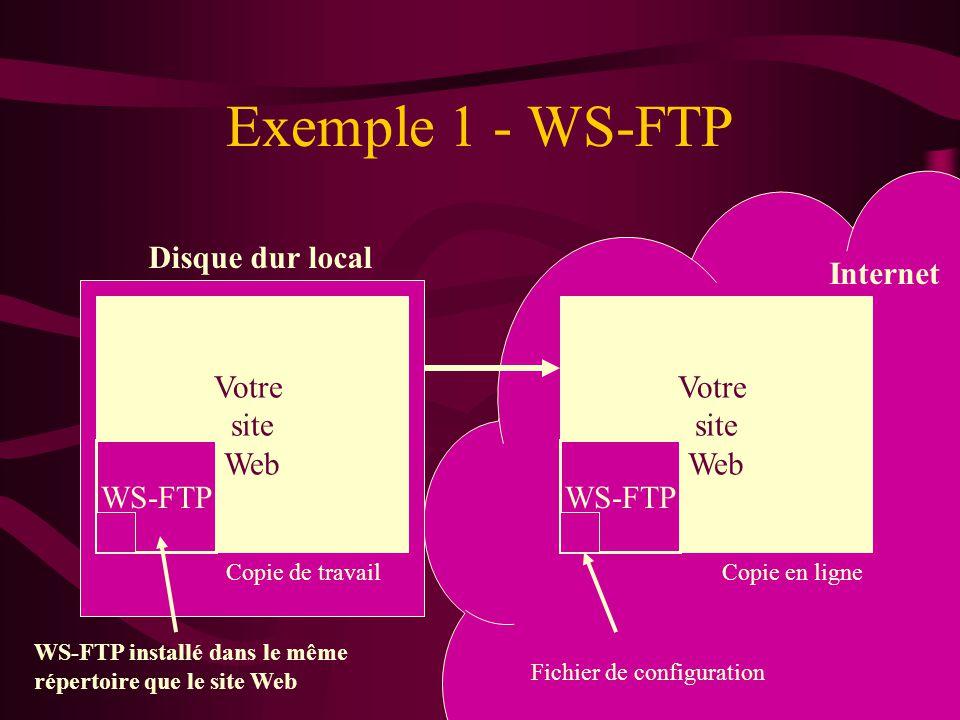 Exemple 1 - WS-FTP Disque dur local Internet Votre site Web Votre site