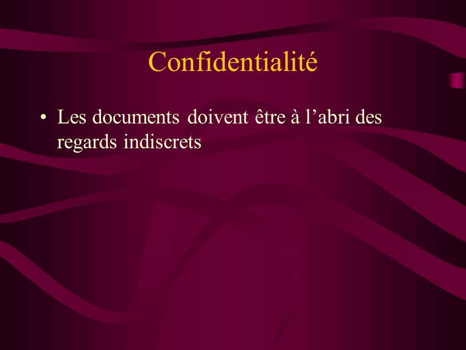 Confidentialité Les documents doivent être à l'abri des regards indiscrets.