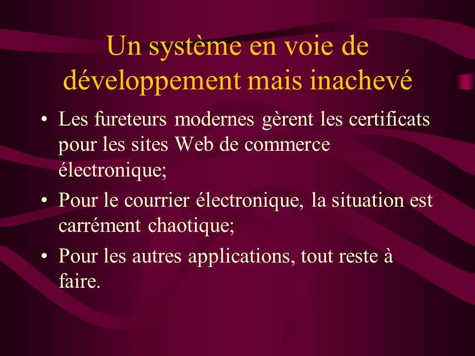 Un système en voie de développement mais inachevé