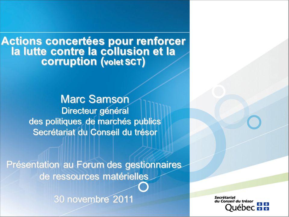 Actions concertées pour renforcer la lutte contre la collusion et la corruption (volet SCT)