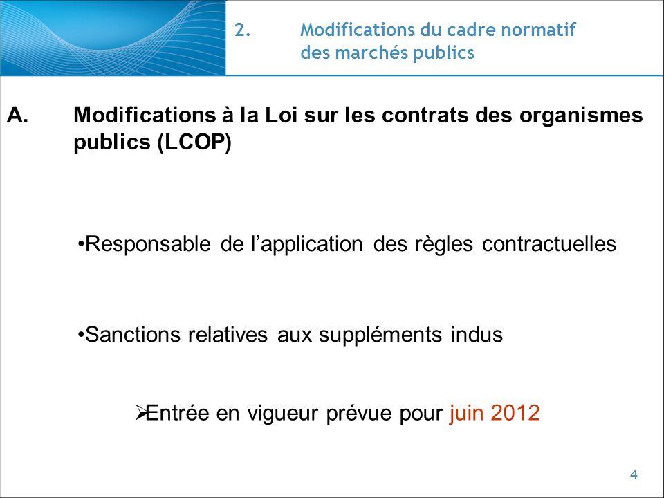 2. Modifications du cadre normatif des marchés publics