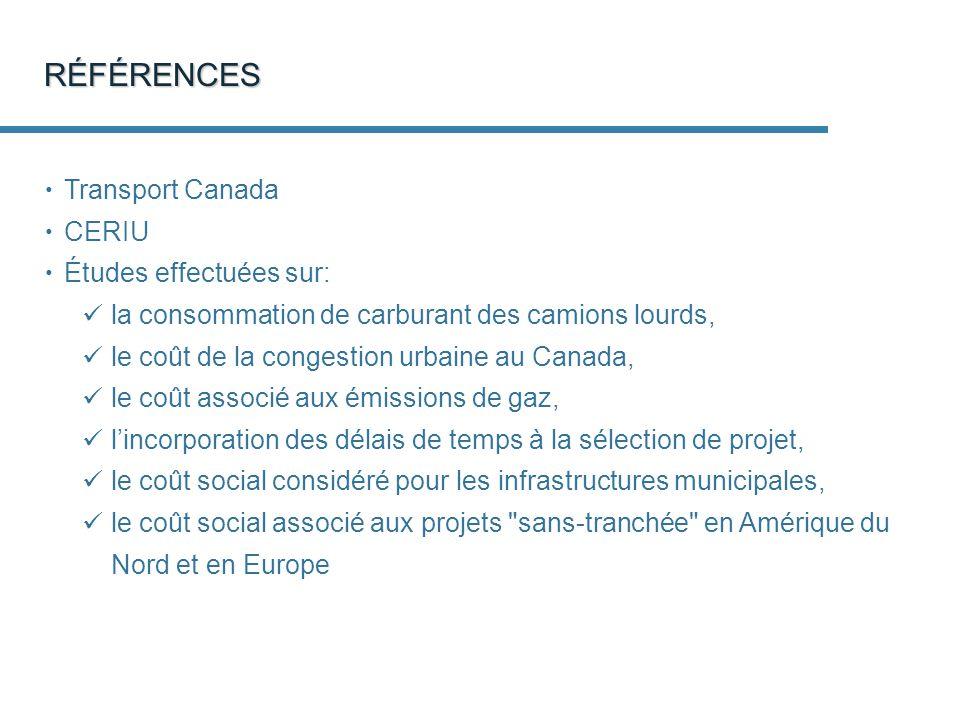 RÉFÉRENCES Transport Canada CERIU Études effectuées sur: