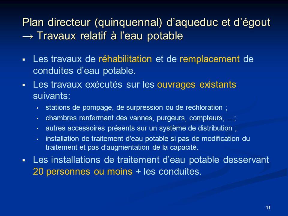 Plan directeur (quinquennal) d'aqueduc et d'égout → Travaux relatif à l'eau potable
