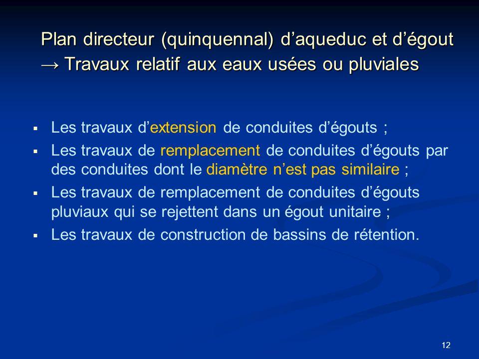 Plan directeur (quinquennal) d'aqueduc et d'égout → Travaux relatif aux eaux usées ou pluviales
