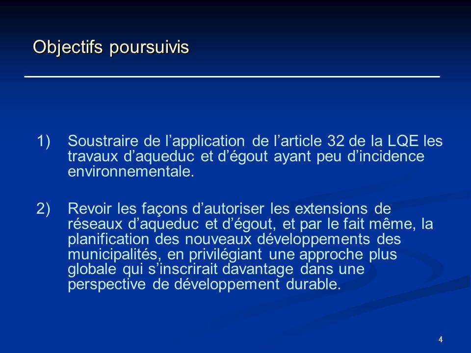 Objectifs poursuivis Soustraire de l'application de l'article 32 de la LQE les travaux d'aqueduc et d'égout ayant peu d'incidence environnementale.