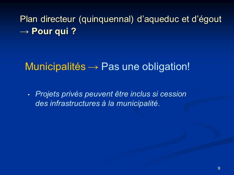 Plan directeur (quinquennal) d'aqueduc et d'égout → Pour qui