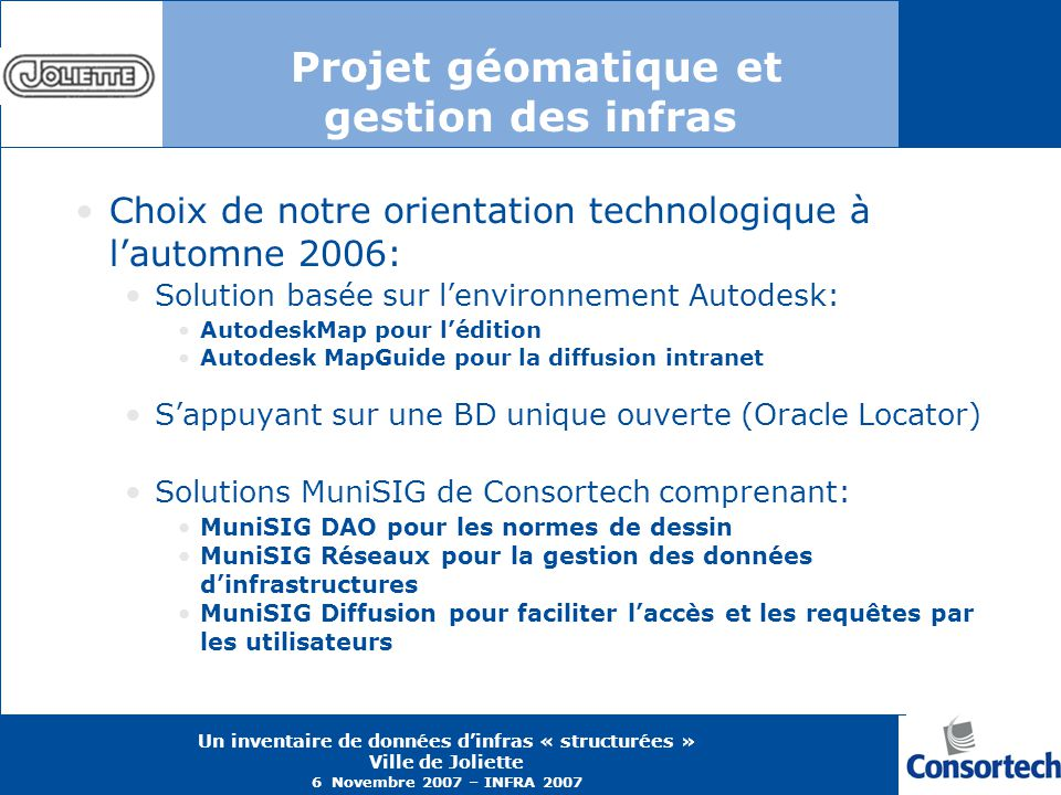 Projet géomatique et gestion des infras