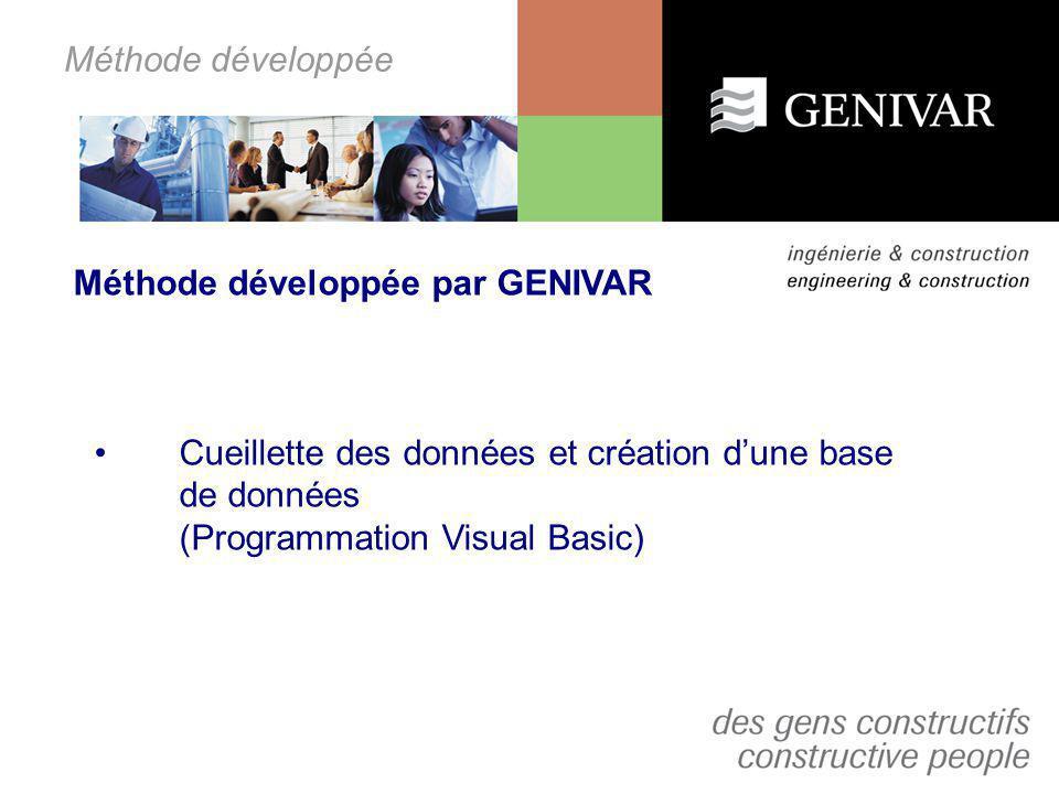 Méthode développée Méthode développée par GENIVAR. Cueillette des données et création d'une base de données.