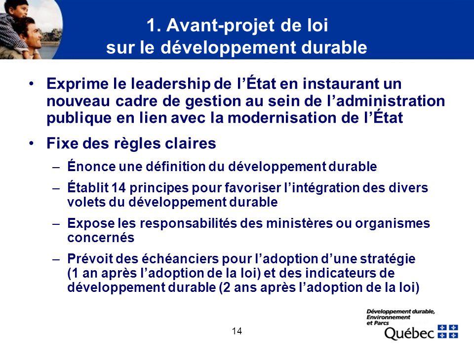 1. Avant-projet de loi sur le développement durable (suite)