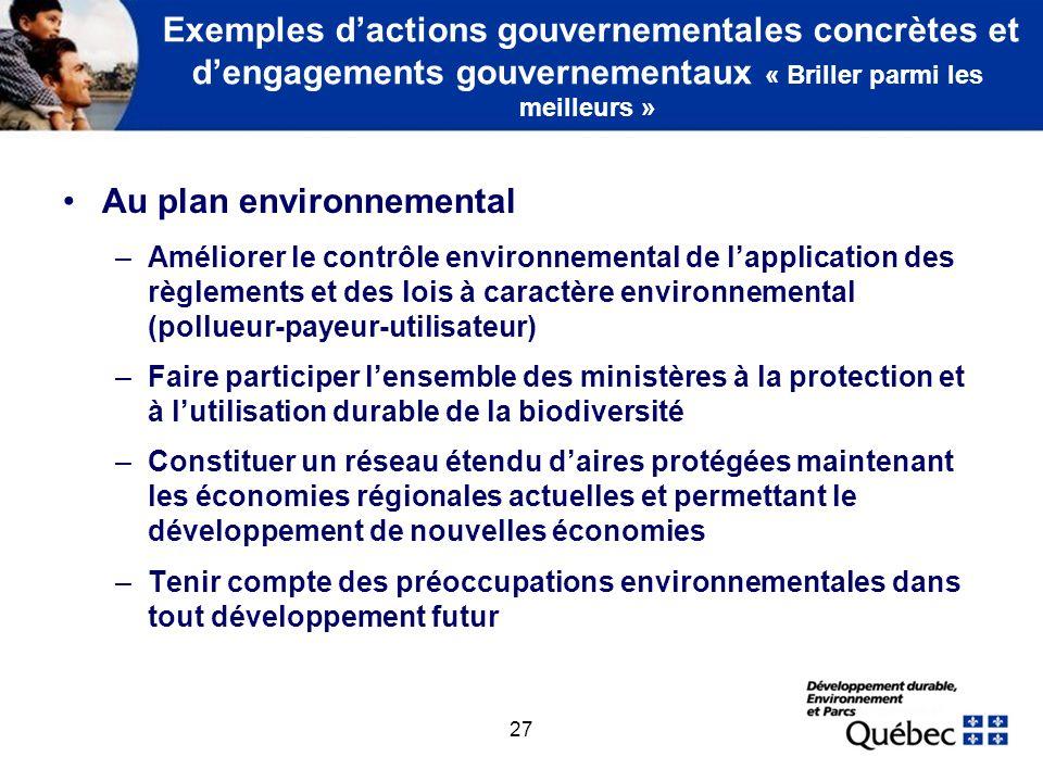 Au plan environnemental (suite)