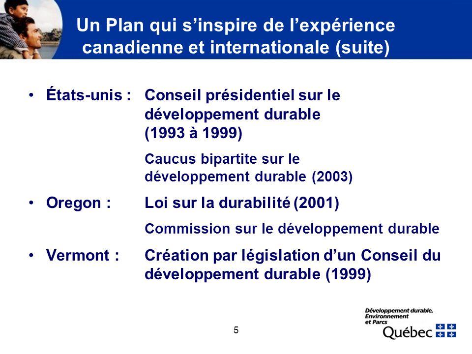Les caractéristiques de la démarche de développement durable du Québec