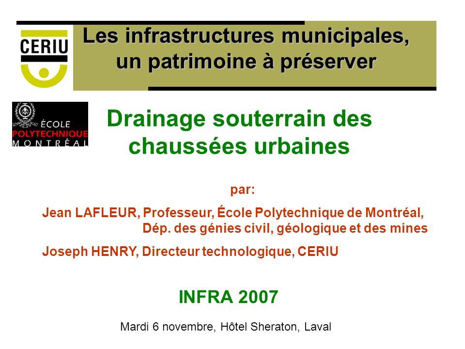 Drainage souterrain des chaussées urbaines