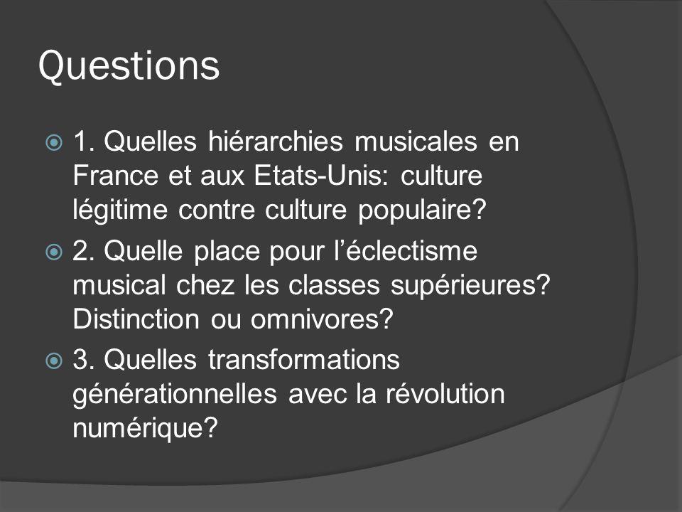 Questions 1. Quelles hiérarchies musicales en France et aux Etats-Unis: culture légitime contre culture populaire