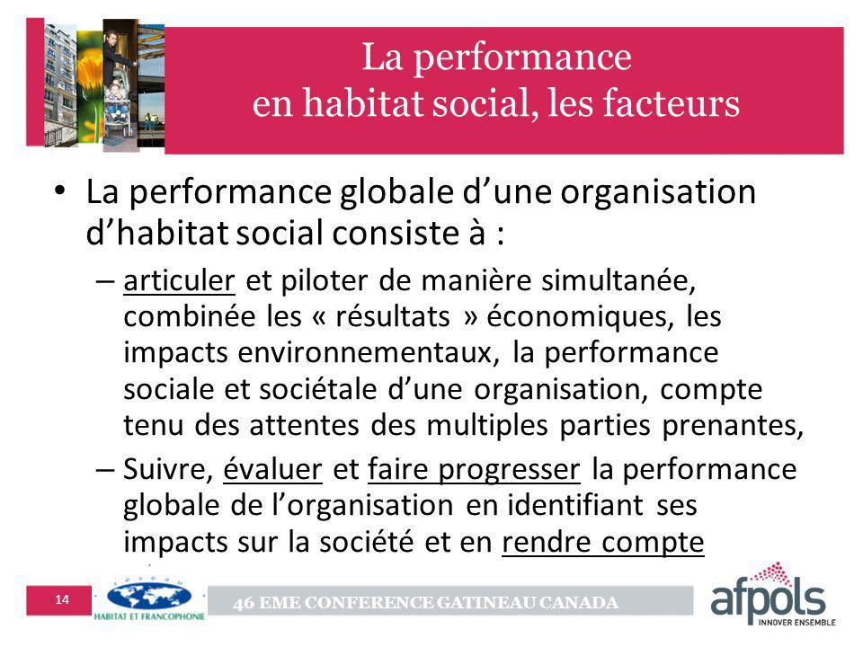 La performance en habitat social, les facteurs