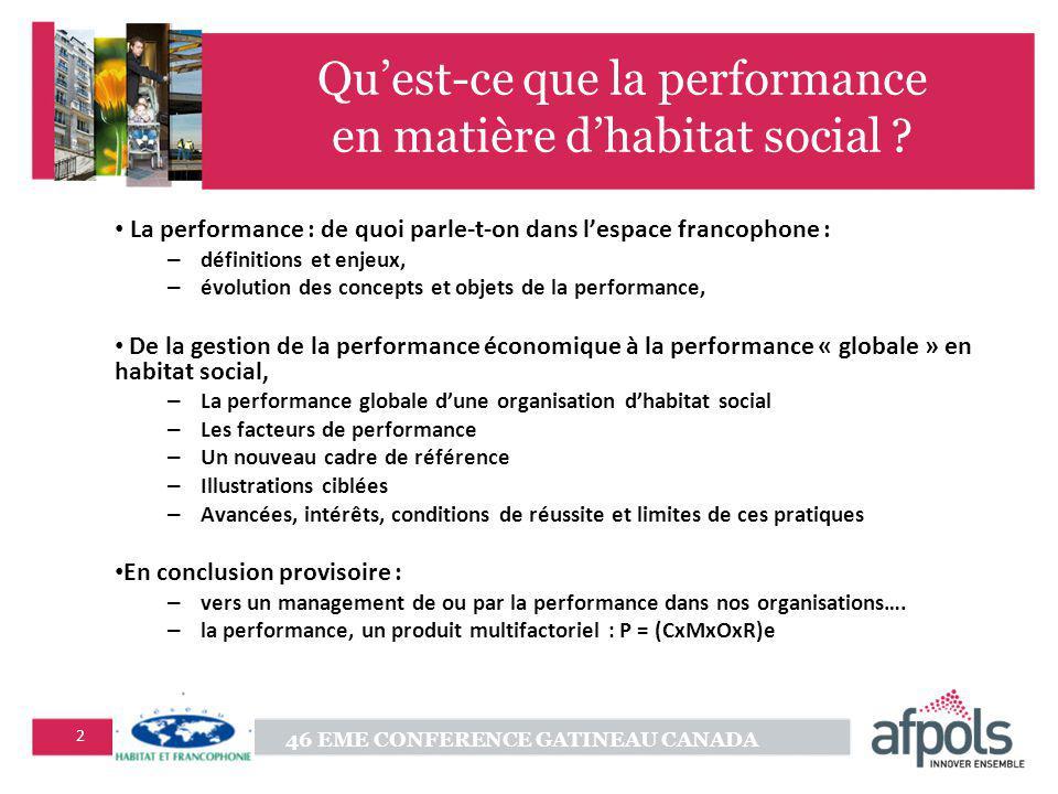 Qu'est-ce que la performance en matière d'habitat social