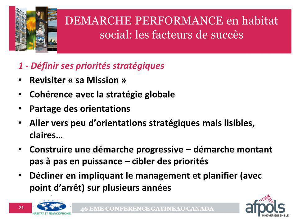 DEMARCHE PERFORMANCE en habitat social: les facteurs de succès
