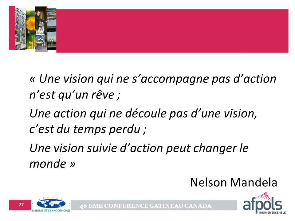 « Une vision qui ne s'accompagne pas d'action n'est qu'un rêve ;