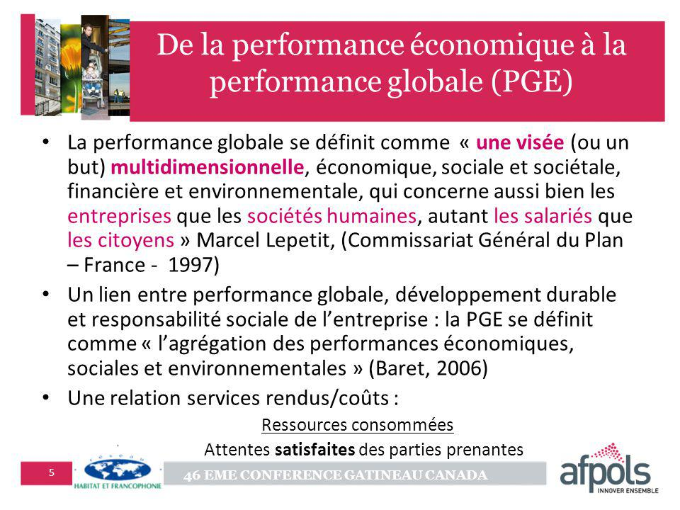 De la performance économique à la performance globale (PGE)