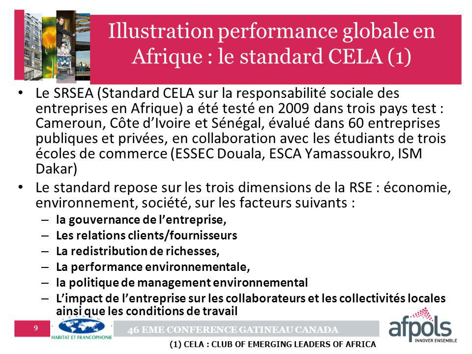 Illustration performance globale en Afrique : le standard CELA (1)