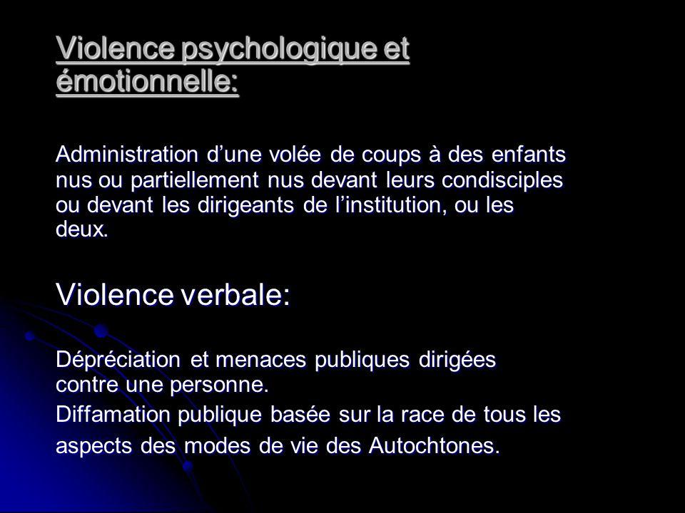 Violence psychologique et émotionnelle:
