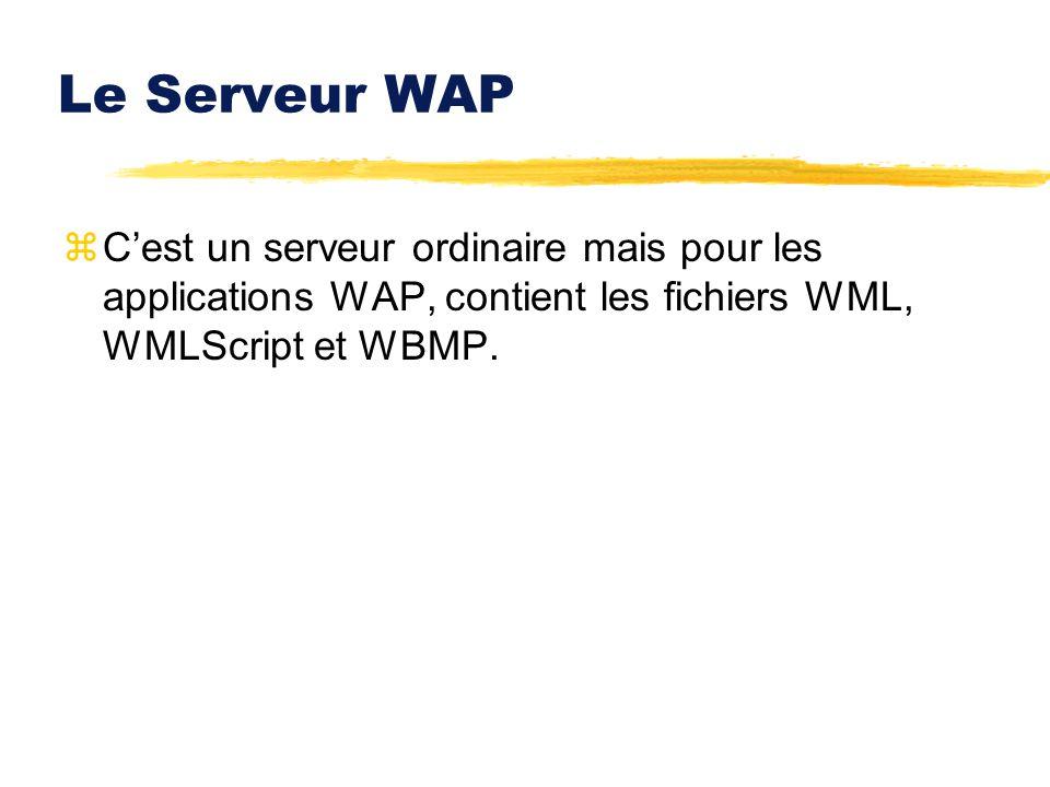 Le Serveur WAP C'est un serveur ordinaire mais pour les applications WAP, contient les fichiers WML, WMLScript et WBMP.