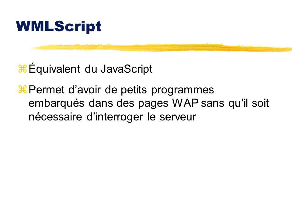 WMLScript Équivalent du JavaScript