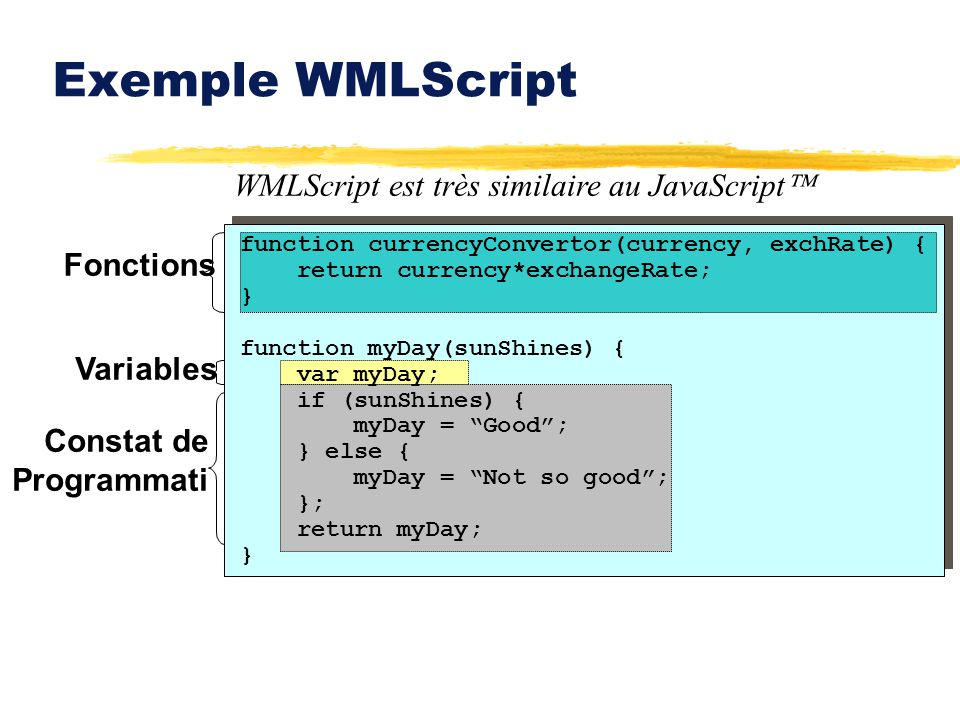 Exemple WMLScript WMLScript est très similaire au JavaScript