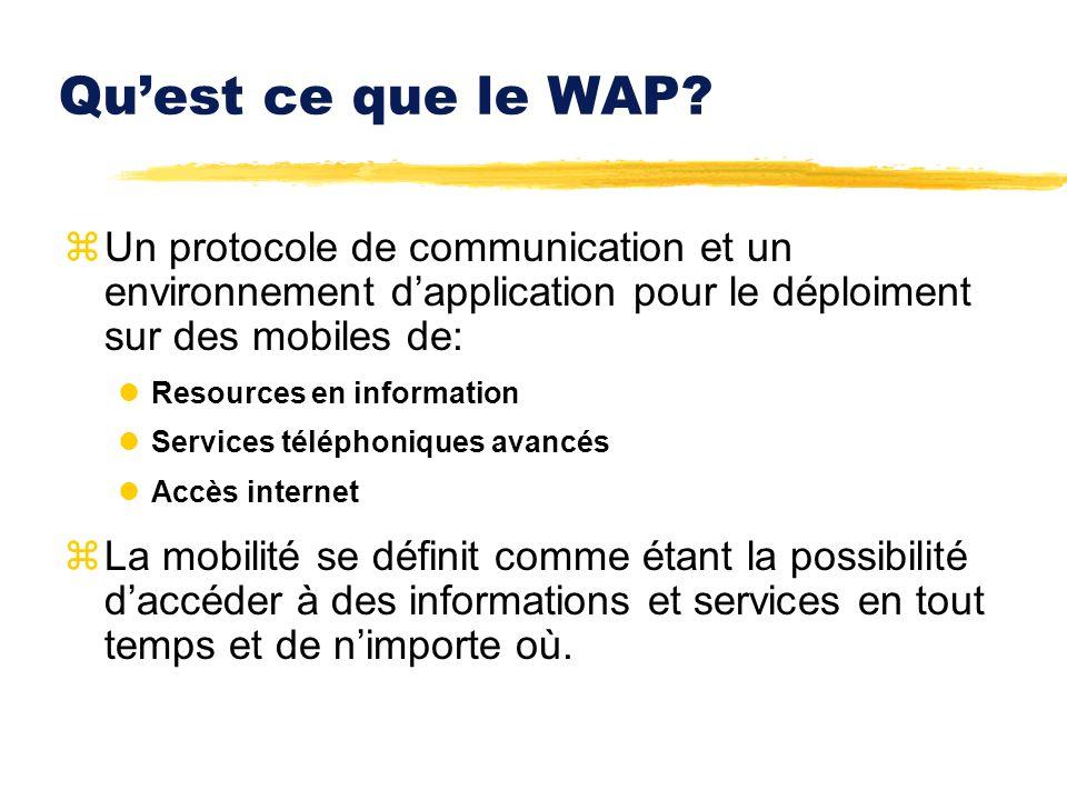 Qu'est ce que le WAP Un protocole de communication et un environnement d'application pour le déploiment sur des mobiles de: