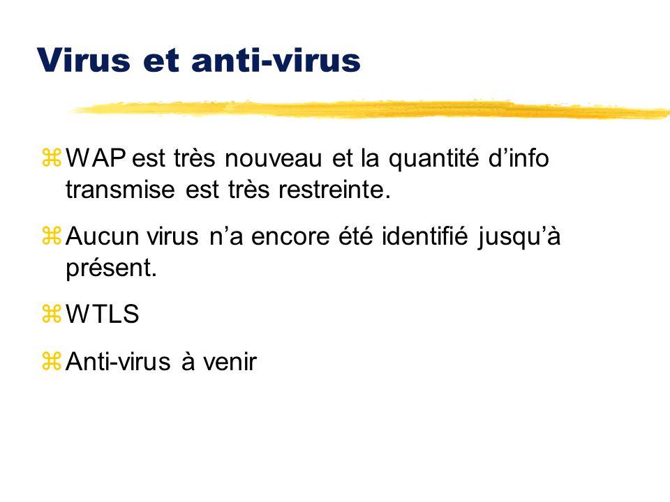 Virus et anti-virus WAP est très nouveau et la quantité d'info transmise est très restreinte. Aucun virus n'a encore été identifié jusqu'à présent.