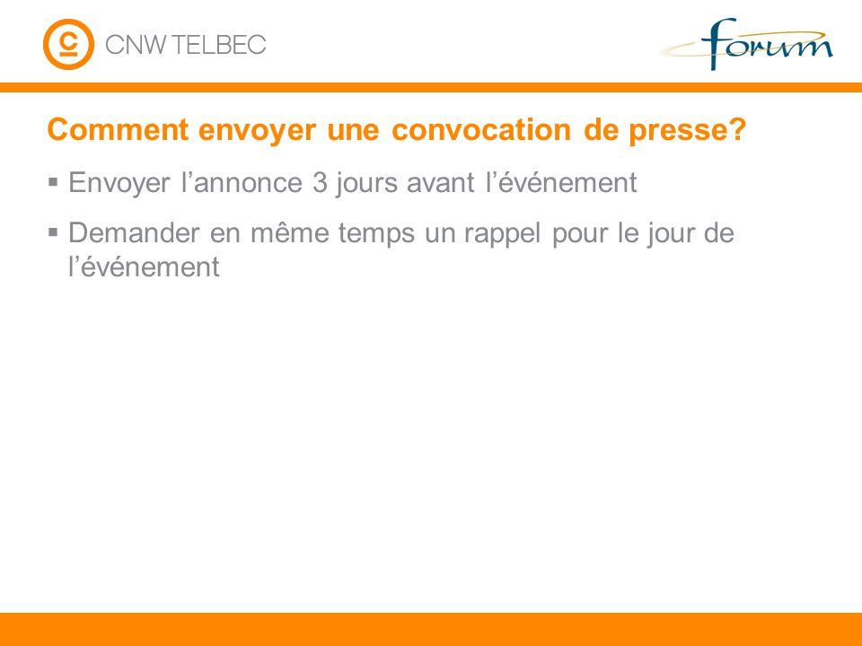 Comment envoyer une convocation de presse