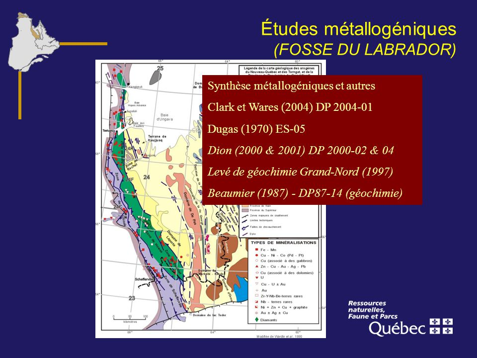 Études métallogéniques (FOSSE DU LABRADOR)