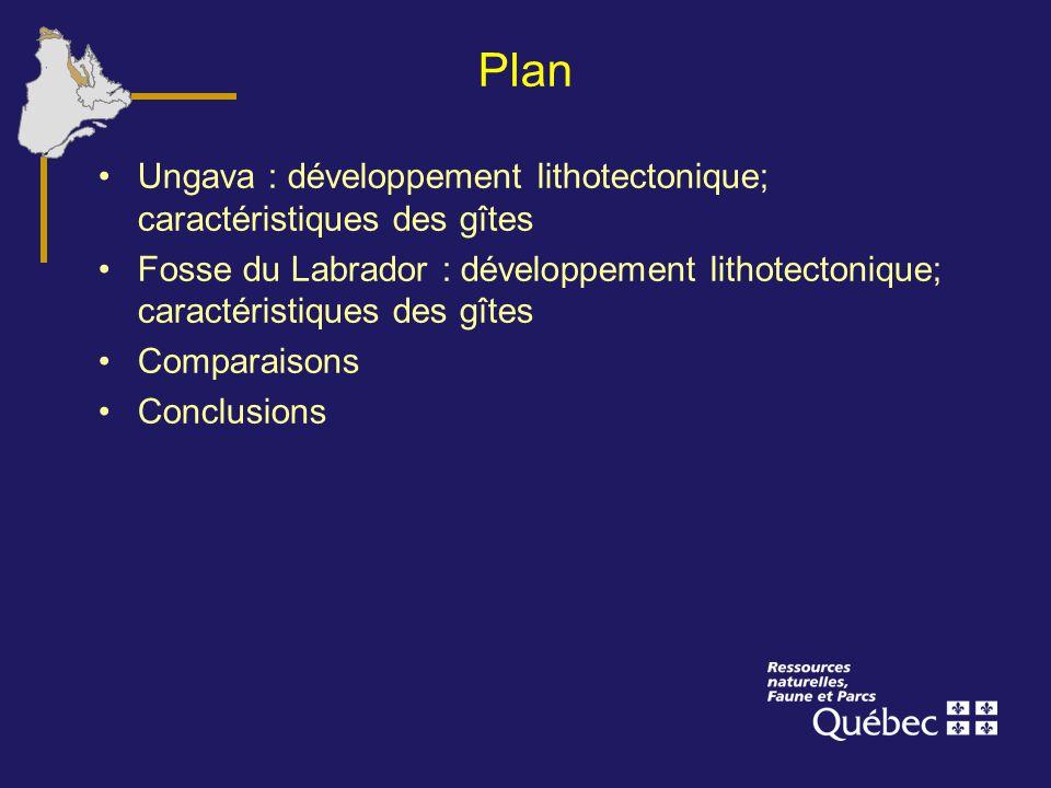 Plan Ungava : développement lithotectonique; caractéristiques des gîtes.