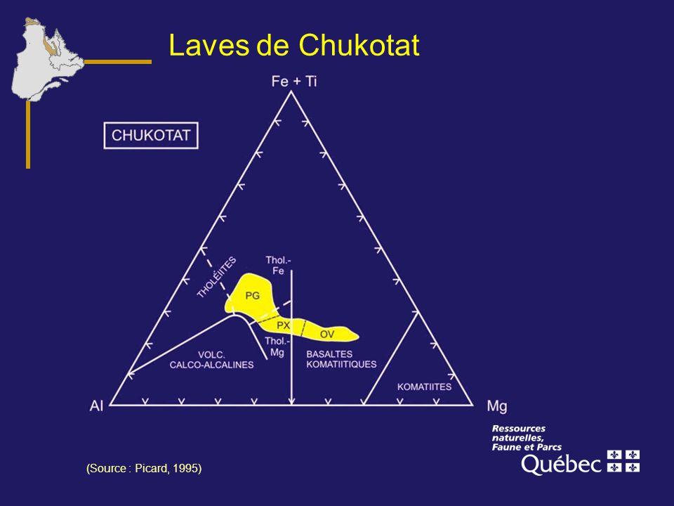 Laves de Chukotat Comme les laves du Povungnituk, les laves du Chukotat sont de type MORB.